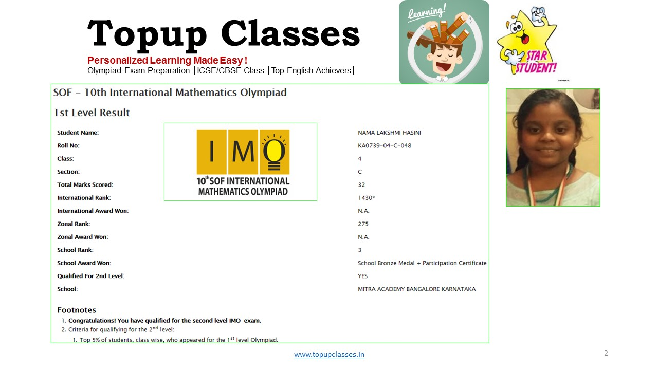 Gold Medal Winner Student SOF – Olympiad exam – Topup Classes